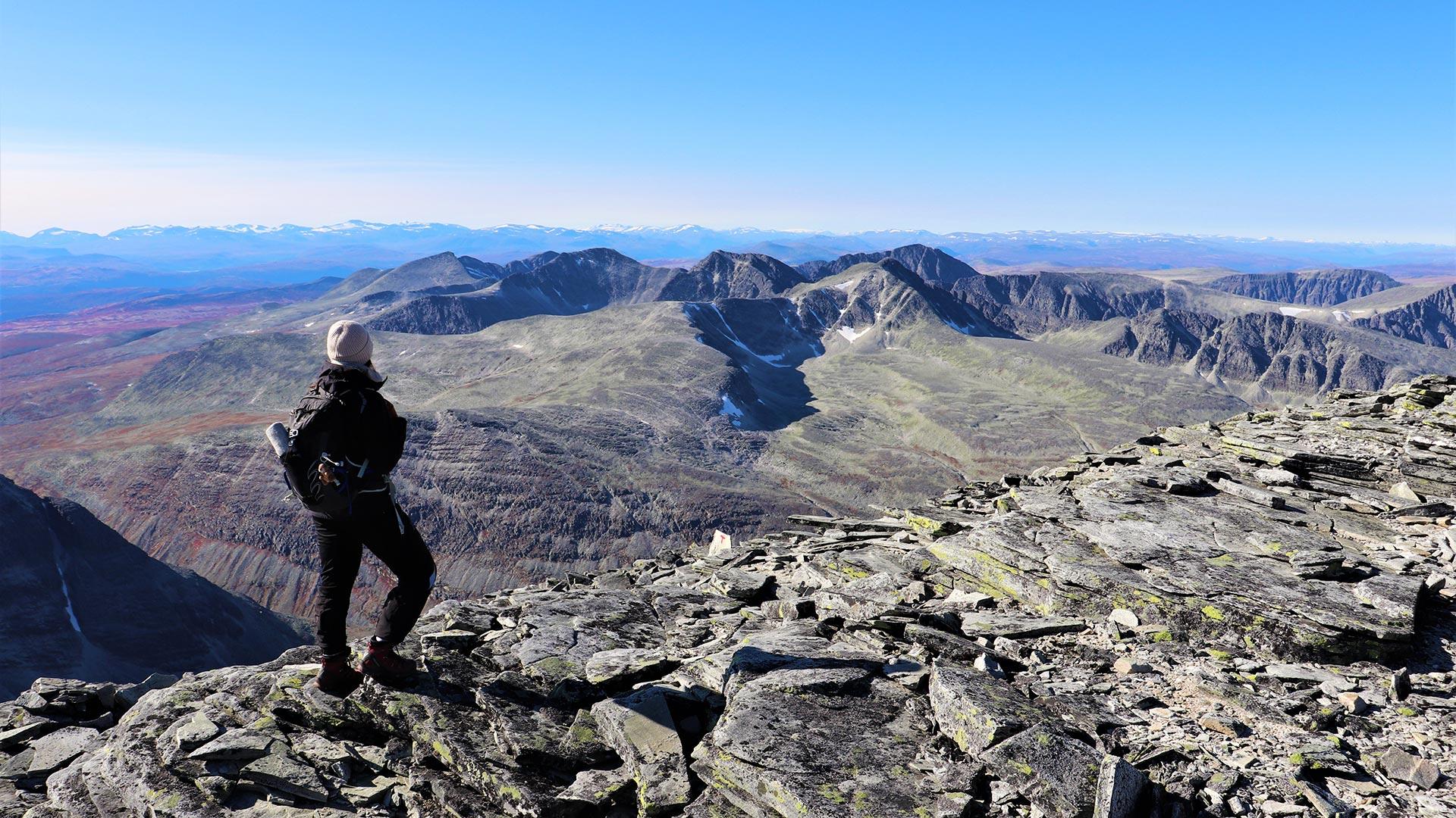 Woman on a mountain in Rondane.
